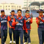 Nepal U-19 team members celebrate after defeating Ireland in their Group D match of the ICC U-19 Cricket World Cup at the Khan Shaheb Osman Ali Stadium in Fatullah on Saturday, January 30, 2016. Photo: THT