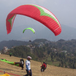 The participants competitors practise paragliding at Sarangkot, prior to the Paragliding Pre-World Cup, the eight days competition being organised by Nepal Air Sports Association (NAA) and supported by Nepal Tourism Board, from Saturday, in Pokhara, on Saturday, February 27, 2016. Photo: Rup Narayan Dhakal