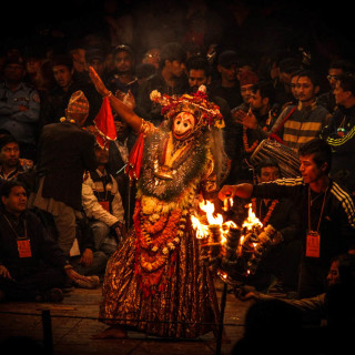 Nepali festivals are Nepal's rich heritage. Among many festivals, this one is the annual Kartik Naach (Dance of the deity Kartik) being staged at Patan Durbar Square. Kartik Naach is a month long traditional dance and drama festival that takes place in the Hindu lunar calendar month of Kartik, which falls in October/November.