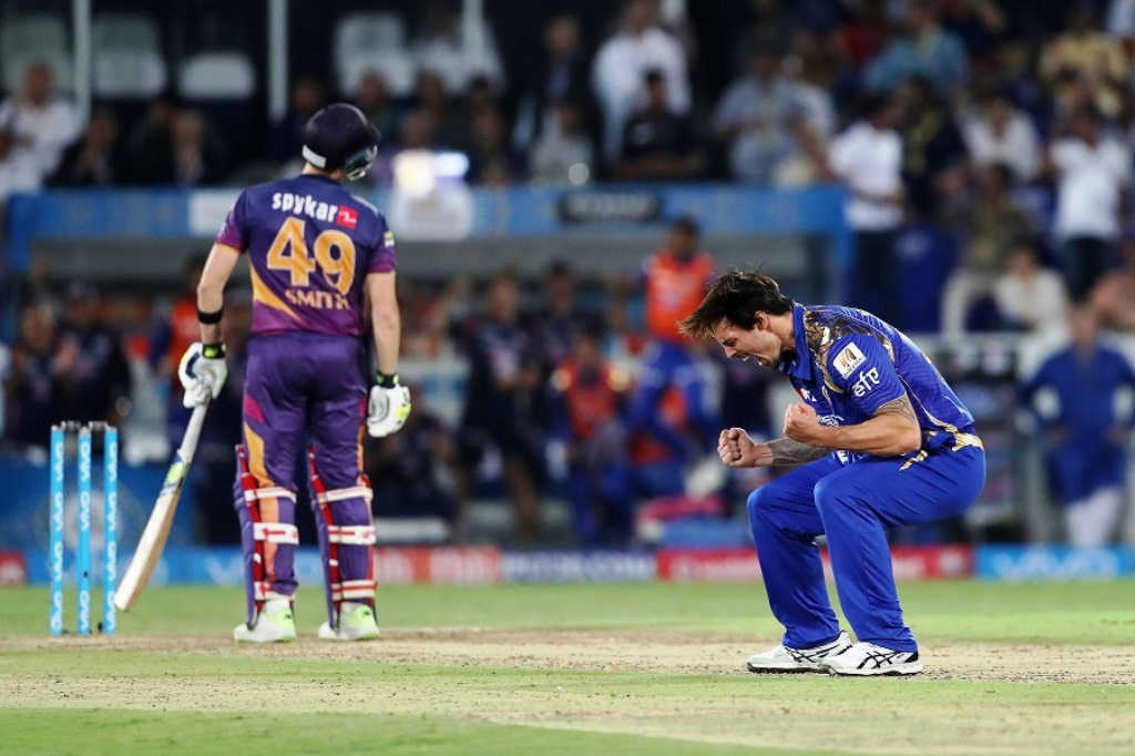 Mitchell Johnson of the Mumbai Indians celebrates the wicket of Rising Pune Supergiant captain Steven Smith  in the last over during the final of the Vivo 2017 Indian Premier League between the Rising Pune Supergiant and the Mumbai Indians held at the Rajiv Gandhi International Cricket Stadium in Hyderabad, India on the 21st May 2017 Photo by Ron Gaunt - Sportzpics - IPL